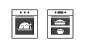 kitchen stove line icon oven with meals inside home appliance concept horizontal