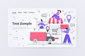 businesspeople ordering goods by cargo truck in online shop fast delivery service shopping concept