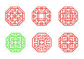 Set of Stencil Chinese octagon window frame vector