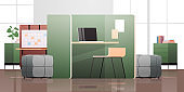 empty coworking center modern office room interior open space with furniture horizontal