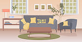 modern living room interior empty no people apartment with furniture horizontal