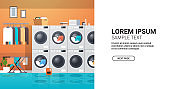 row of dryers industrial washing machines electric washers concept modern laundry room interior