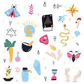 Magic objects in cartoon style on a white background.Design of witch magic. Halloween. The art of witchcraft. Vector concept.Vector illustration design.