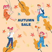 Autumn sale banner template with happy smiling children, flat vector illustration.