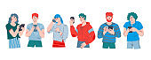 People standing row and using phones, cartoon flat vector illustration isolated.
