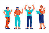 Group of young positive people showing OK, Victory and thumb up gestures, cartoon vector illustration isolated.