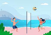 Kids playing beach volleyball