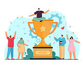 Tiny corporative winners celebrating victory