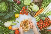 Organic vegetables on white table