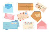 Stylish collection of different envelopes flat pictures
