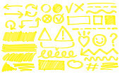 Yellow hand drawn doodle drawings vector illustration set