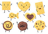 Cute biscuit characters vector illustrations set