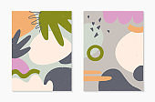 Set og abstract modern vector illustrations with various shapes and doodles