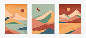 Set of creative abstract mountain landscape backgrounds