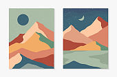 Set of creative abstract mountain landscape and mountain range backgrounds
