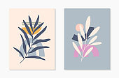 Set of mid century modern abstract vector illustrations with organic shapes and leaves