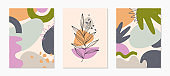Set of modern abstract vector illustrations with organic various shapes and foliage line art