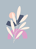 Mid century modern abstract vector illustration with organic shapes and plants