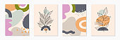 Bundle of modern abstract vector illustrations with organic various shapes and foliage line art