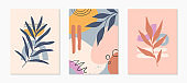 Set of mid century modern abstract vector illustrations with organic shapes and plants