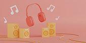 3d rendering red headphones with yellow speakers