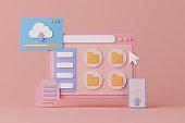 3d rendering concept cloud computing technology.
