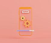 3d rendering smartphone gear icon.