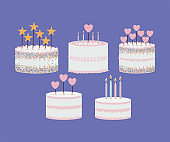 set of birthday cakes on a purple background