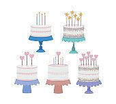 set of birthday cakes on a white background