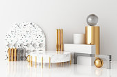 Mock up geometric shape gold and glass texture with white colour podium for product design, 3d rendering, 3d illustration