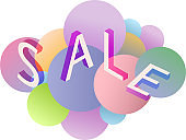 Three-dimensional Discount banner. 3D banner Spring sales in pastel color
