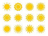 Sun icons collection. Summer suns flat design set.