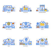 Pack of Network Connection Flat Illustration