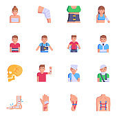 Set of Injured Persons Flat Icons