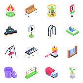 Pack of Garden Equipment Isometric Icons