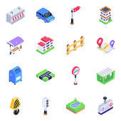Pack of Directions Board Isometric Icons