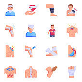 Premium Flat Icons of Kinesiology and Fractures