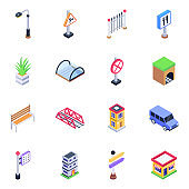 Pack of Tunnels and Sign Boards Isometric Icons