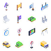 Pack of Fingerposts and Automobiles Isometric Icons