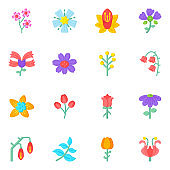 Set of Flowers and Gardening Flat Icons in Editable Style