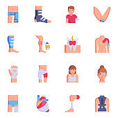 Collection of Injures and Patients Flat Icons