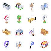 Pack of Bridges Isometric Icons