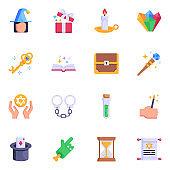 Set of Trendy Magicians Tricks Flat Icon Vectors