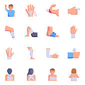 Trendy Set of Injuries Flat Icons