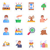 Trendy Set of 16 Land Pollution Flat Icons