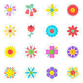 Set of Wildflowers Flat Icons With High Quality Graphics