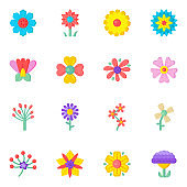 Flat Icons of Blossom Flowers