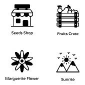Set of Nature and Gardening Solid Icons