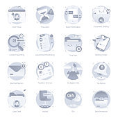 Set of Documents Flat Rounded Icons