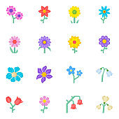 Modern Set of Flowers Flat Icons with Editable Facility